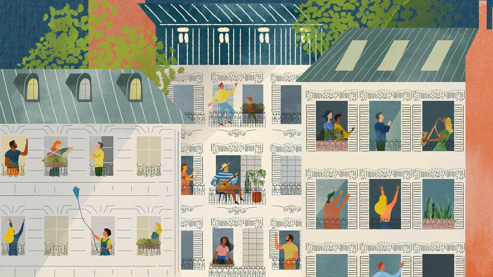 desenho de prédios com pessoas à janela