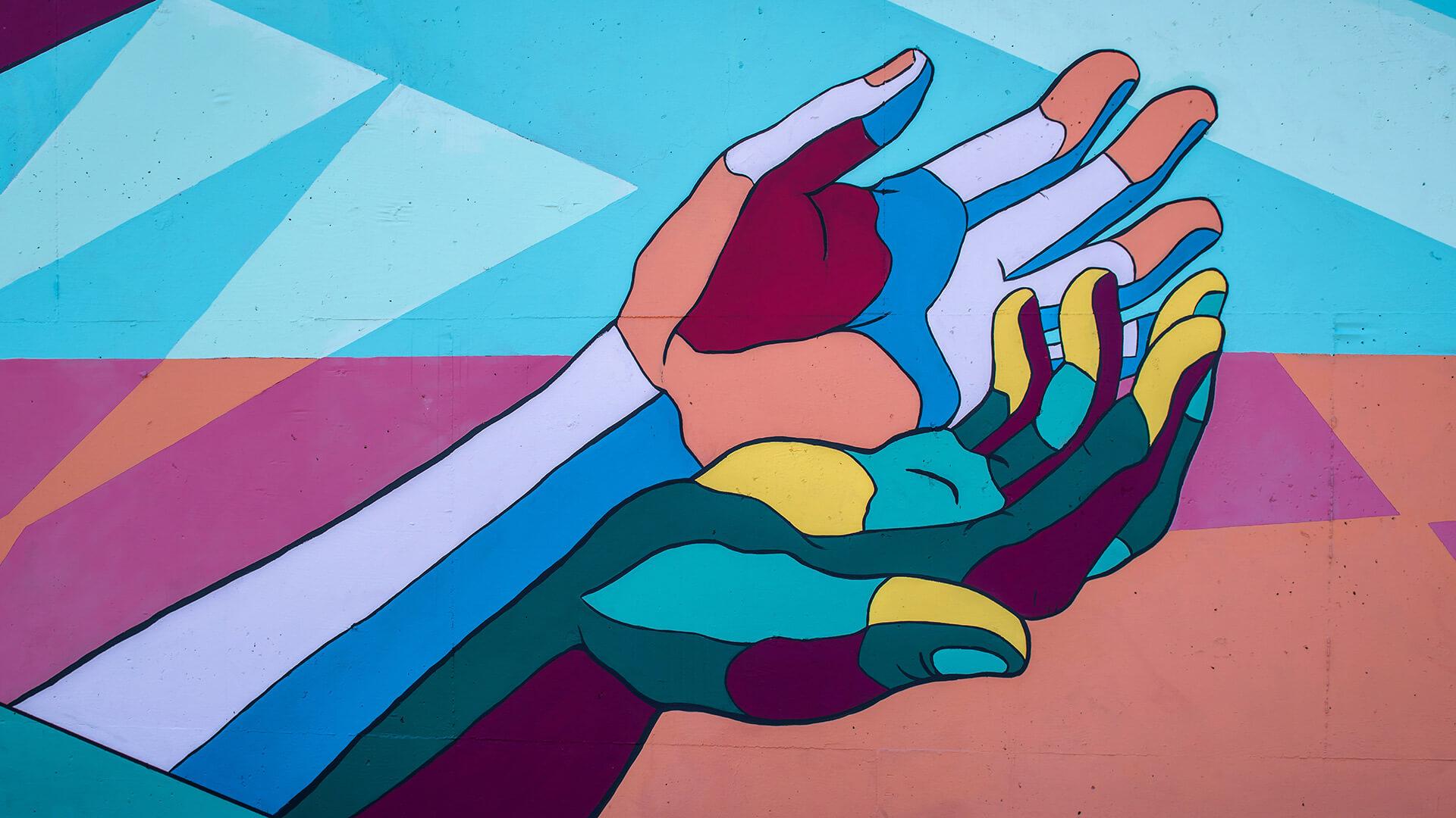 Mural com mãos